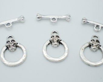 Antiqued Silver Pewter Skull and Bones Toggle Clasp - Set of 3