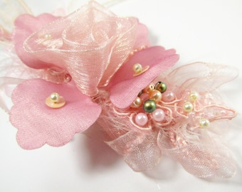 Cottage Rose Beaded Bridal Hair Clip in Mauve, Pink, Peach Blush and Olive Green