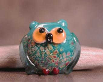 Lampwork Glass Owl Bead Focal, Lampwork Birds, Owl Animal Totem, Whimsical Owl, Divine Spark Designs, SRA