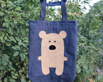 Denim handbag with a funny applique in the form of Teddy bear Shoulder funny packs Recycled jeans Hippie tote Personalize gift handbag