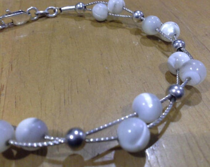 Sterling Silver 925 MOP Ball Bead Double Twist Wire Artisan Bracelet, Made in Italy, Vintage
