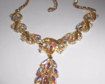Coro Rhinestone Necklace Aurora Borealis Pendant Lariat