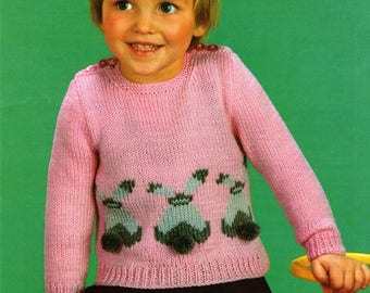 Childrens Sweater with Bunny Rabbit Motif PDF Knitting Pattern : Toddlers Boys or Girls 18, 20, 22 and 24  . Instant Digital Download