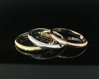 Tricolor Stack Rings // 925 Sterling Silver // Set of 3 Gold Silver and Rose Gold Stack Rings