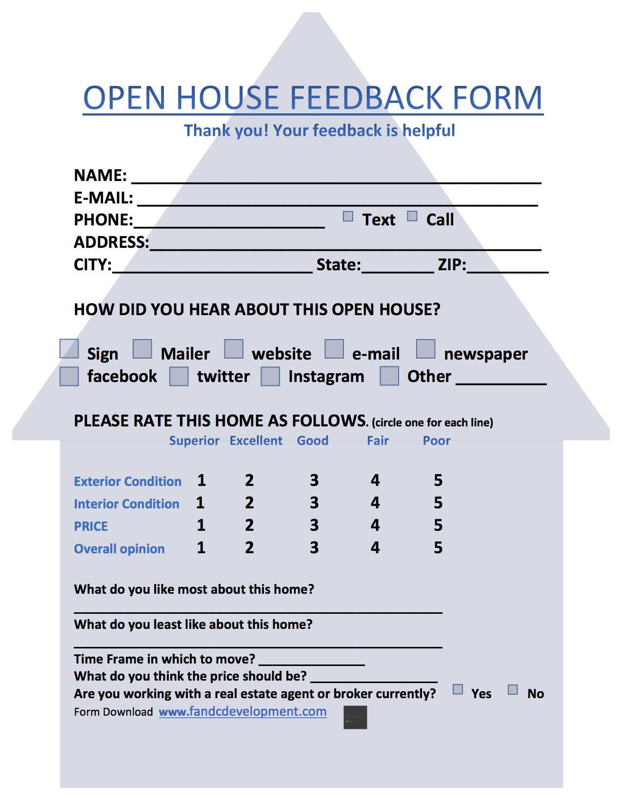 open house feedback forms Real estate forms open house feedback form open house sign