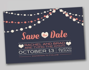 String Lights Save the Date, Coral Save the Date, Lights Save the date, White Lights Save the Date, Digital File Only