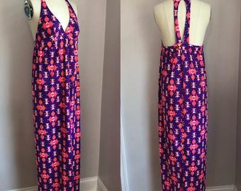 Vintage 1970's Nylon Purple Op Art Print Halter Maxi Dress Size Small