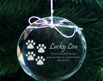 SHIPS FAST, Personalized Pet Ornament, Custom Pet Memorial Ornament, Engraved Crystal Ornament for Pets, Holiday Ornament for Dog, COR38