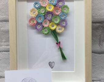 Handmade,Pastel, quilled flower bouquet in a 5 x7 inch box frame. Perfect gift for Mother's Day to be cherished forever