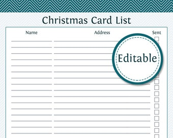 Christmas Card List - Fillable - Printable PDF - Instant Download