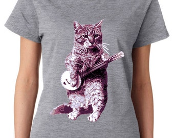 cat shirt - banjo shirt - cat tshirt - cat gifts - cat lover gift - cat lady - cat lover - music gift - womens tshirts -BANJO CAT- crew neck