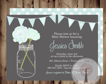 BABY BOY Baby Shower Invitation, baby shower invite, mason jar baby shower, mason jar, flowers,aqua, mint  front and back