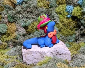 Mad Hatter Dragon - Polymer Clay dragon - Dragon Sculpture - Clay Dragon - Geekery - Desk Buddy - Dragon Figurine - Cute Dragon - Wonderland
