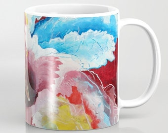 Floral Coffee Mug, Hibiscus Flower, Abstract Mug, Art Mug, Colorful Mug, Coffee Cup, Red Blue Yellow Housewarming Gift, Ceramic Mug, Tea Mug