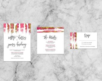 Collete Gold & Color Brush Suite   Customized Wedding Invitation Template Set