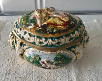 Gorgeous Capodimonte Ceramic Jewelry Box