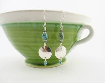 Turquoise earrings, silver earrings, Boho style earrings, hammered sterling silver, gemstone earrings, silver jewelry, silver disc earrings