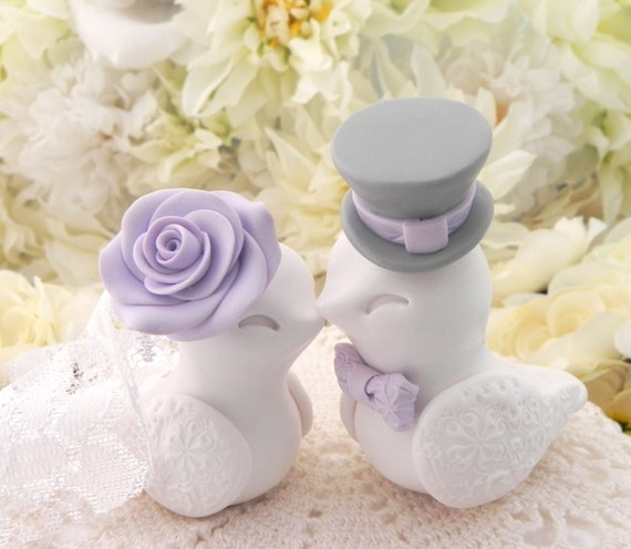 Love Birds Wedding Cake Topper, White, Lilac and Grey, Bride and Groom Keepsake, Fully Customizable