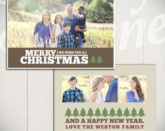 Christmas Card Template: Good Tidings D - 5x7 Holiday Card Template for Photographers
