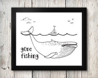 Boy's nursery digital print - Gone Fishing - 8x10 inch - instant download - Nautical, Ocean, Under the sea theme