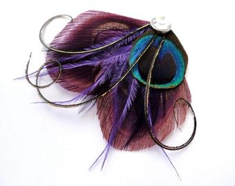 SADIE in Weintraube lila, dunkel lila und Türkis Peacock Feather Hair Clip, Feather Fascinator