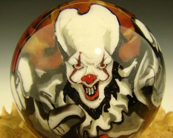 Huge Glass Pennywise inspired Surreal Glass Art Marble with skulls & bat by Stephen Boehme Orb VGW (Ready to Ship)