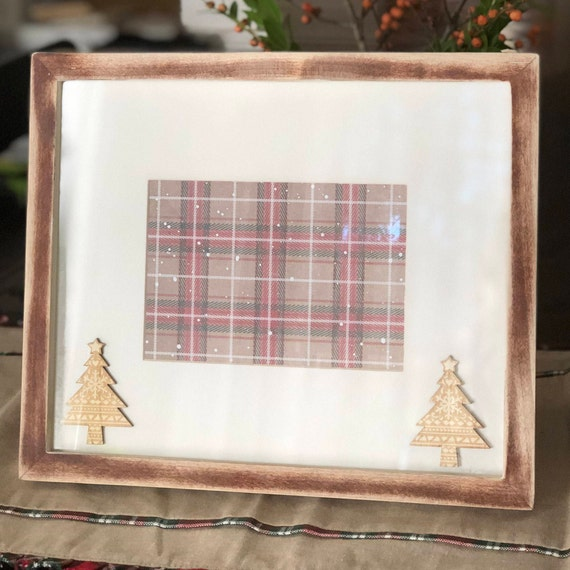 christmas 5x7 picture frame modern farmhouse original pottery barn frame distressed rustic holiday winter frame hand painted from