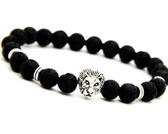 Lava Lion Bracelet, Lion Head Bracelet, Men Lava Bracelet, Black Lava Bracelet, Black Lava Beads, Mens Bracelet, Mens Beaded Bracelet, Gift