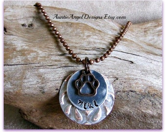 Stamped Pet Jewelry; Personalized Pet Sympathy Necklace; Stamped Pet Memorial Jewelry; Custom Pet Jewelry; Hand Stamped Cat Lover Necklace