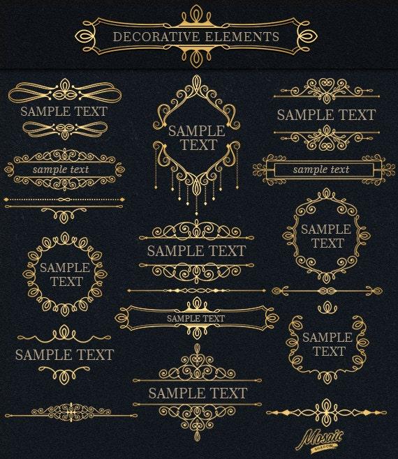black and gold frame png. Gold And Black Ornamental Digital Vintage Frame Clipart, Text Dividers Ornate Frames, Scrapbook Flourish Design, PNG Png E