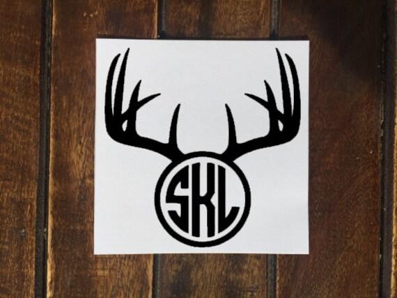 Deer Antler Monogram Decal Antler Monogram Circle Monogram