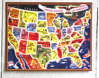 Vintage Map - The United States of America- by Writeables - Poster Art Ready to Frame