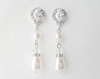 Pearl Earrings Bridal Wedding Earrings Crystal Pearl Drop Earrings Wedding Jewelry Crystal Wedding Earrings CZ Wedding jewelry, Laila