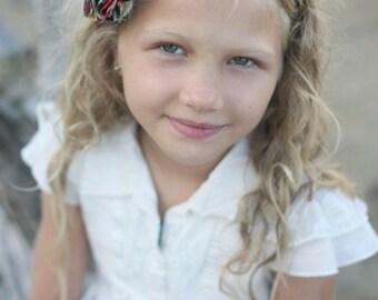 Alexander Henry Mocca and Hollywood Fabric Flower Headband / Fabric Flower Headband / Children Headband / Hard Headband