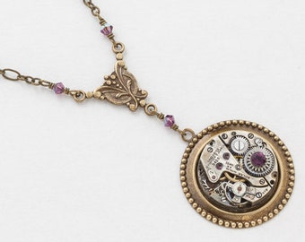 Steampunk Necklace Antique Silver Watch Movement with Amethyst Purple Crystal Beads and Gold Chain Victorian Styled Statement Necklace 2997