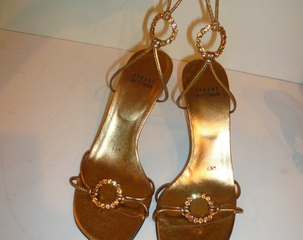Stuart Weitzman Women's Gold Sandals Vintage Size 6 1/2 Ankle Straps Gold Jewel Toned Buckle by VintageReinvented