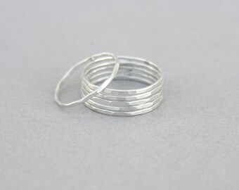 Skinny silver stacking rings, set of 3 / set of 6, hammered sterling silver, slim simple stackable band, stack ring set