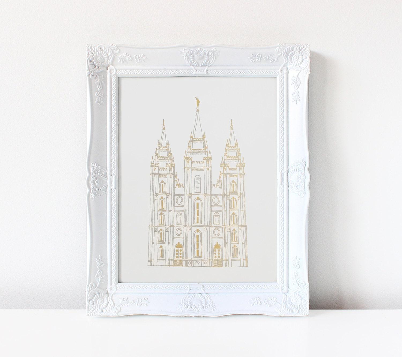 Salt Lake City Temple Hand Drawn Real Foil Gold Foil # Muebles En Salt Lake City Utah