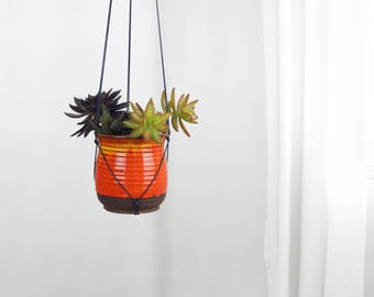 Vintage 1960 Hanging Planter | Fat Lava Plant Pot Holder and hanger in orange yellow flame colors | Handmade Pottery | Eclectic Home Decor