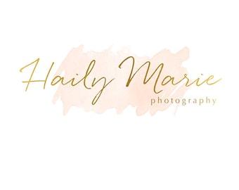 Pre-made Logo Design & Photography Watermark - Watercolor logo - Youtube Header - Blog Header - Gold Logo - Instagram Watermark 640