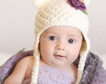 Crocheted bear earflap hat, bear hat, spring baby hat, photo prop, baby shower gift, baby accessory