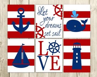 Nautical Nursery Art - Bedroom wall Art - Nursery Decor
