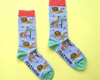 Ladies' Blue Lion & Giraffe socks