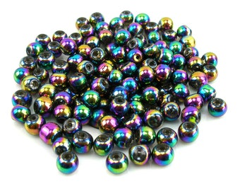 30 metallic 6 mm teal glass beads