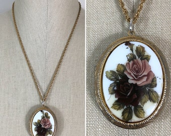 80s Avon Large Dusty Rose Floral Locket and Gold Chain Necklace