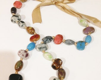 Necklace - colourful glass beaded necklace