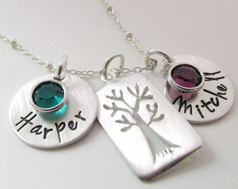 Mother's Necklace - Family Tree Jewelry  - Mothers Birthstone Necklace  -  Surrounded -  Gift for mom - Custom Name Necklace - Tree Necklace