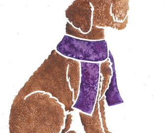 """LABRADOODLE - Original 10x8"""" mounted watercolour picture of a Labradoodle dog, by Yorkshire artist Jess Chappell"""