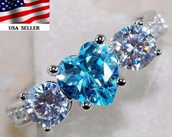 2CT Aquamarine & Topaz 925 Solid Genuine Sterling Silver Heart Ring US Sz 9
