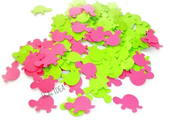 200 Mixed Hot Pink & Bright Green Turtle Cut-outs, Confetti - Set of 200 pcs